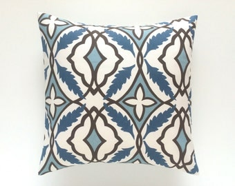 50% OFF CLEARANCE Decorative Throw Pillow Cover. 3 Sizes. Cadet Blue Brown and Ivory Couch Pillow Cover. Accent Pillow