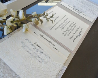 Sand And Blush Trifold Wedding Invitation. Comes With 2 Lace Pockets And 3  Inserts.