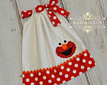 Elmo Birthday dress - Elmo Dress - Girls Birthday Dress - Elmo Outfit
