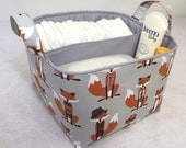 "LG Diaper Caddy 10""x10""x7"" Fabric Bin, Fabric Storage Bin, Fabric Organizer Light Grey Dressy Fox and  Grey Lining"