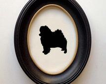 FRAMED Pomeranian Silhouette - Hand-cut Original Dog Art Design:DOG-POM01
