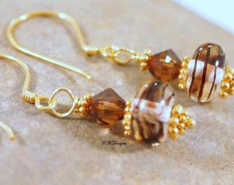 SALE Artisan Lampwork Glass Bead Earrings, Chocolate Swirl Earrings, Swarovski Crystals Beaded Pierced Earrings, OOAK Handmade Earrings