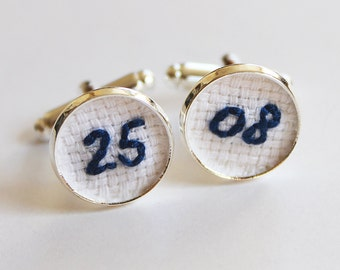 Wedding Date Embroidery Cuff Links Cotton Anniversary Gift, Blue Navy Groom Personalized Cufflinks Groom Gift for Him Birthday Cufflinks