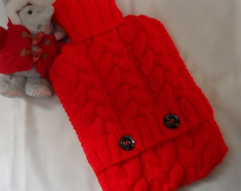 Hand knitted bright red cabled hot water bottle cover/cozy/cosy