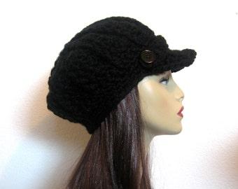 Black Newsboy Hat Crochet Newsboy Hat Black Hat with Visor Adult Newsboy Black Cap Crochet News boy Black Hat with Visor Black knit Hat
