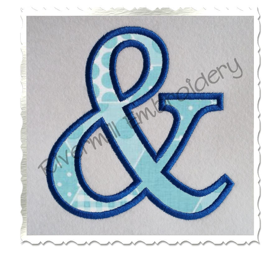 Ampersand applique machine embroidery design 4 sizes for Ampersand decoration etsy