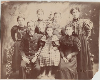 Vintage/ Antique Cabinet Photo of a Family