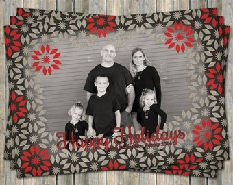 Christmas Card with large photo, holiday photo card, Happy Holidays digital printable file