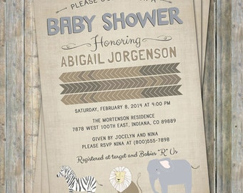 Safari Animals invitation, Jungle baby shower, digital, printable file