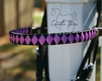 Ribbon Brow Band - Black and Purple Argyle Satin Ribbon Removable Brow Band with Silver Conchos