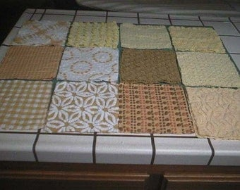 """SALE - 24 Chenille Squares - YELLOWS - Vintage Chenille Bedspread Fabric - 8 1/2"""" Quilt Squares - #2"""
