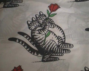 Rare Vintage Kliban Tango CATS with Red ROSE California King Fitted SHEET - Marlborough Ca. King Fitted Sheet with Kliban Cats and Red Rose