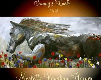 ORIGINAL X Large  gallery wrap canvas  modern mixed media  Oil  fine  art  Stallion painting   by Nicolette Vaughan Horner