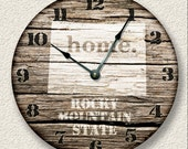 COLORADO Home State Wall CLOCK  - Barn Boards pattern  - Rocky Mountain state - rustic cabin country wall home decor