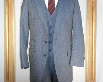 Vintage 1980's Whitehouse & Hardy Blue Wool 3-Piece Suit - Size 42