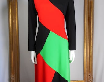 Vintage 1960's Edith Flagg Black/Red & Green Dress - Size 14