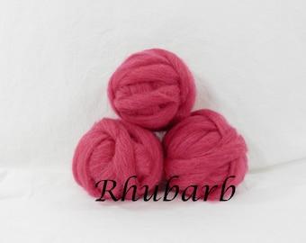 Wool roving in Rhubarb, 1 ounce wool roving for needle felting, wet felting,1 oz rosy raspberry wool roving in, dyed wool sampler