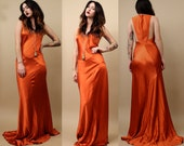 90s Vtg DRAMATiC Sienna Orange SATiN Gown / SUPERMODEL Floor Length GRECiAn Goddess Mermaid Bias Cut Avant Garde Cocktail / Xs - Sm