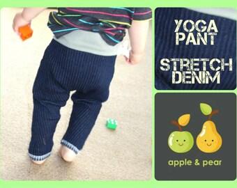 Harem Denim Jean Pant.  Yoga Jeans Pant. Sonic Boom Blue Denim Apple & Pear