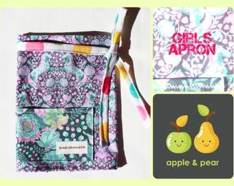 Handmade Barista Style Girls Apron. Half Apron           Vendor Apron Style. Pony Party Polka Dots and Fox