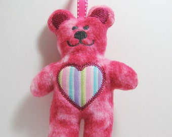 Teddy Bear Rattle Ribbon Tag Toy Plush Pink Fleece