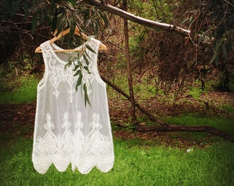 Parisienne Soutache Embroidered Lace tunic, Romantic tank top, one size fits all, size fits S M L, color in white