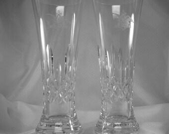 """Vintage Waterford Lismore Crystal Anheiser-Bush 8"""" Pilsners, 2 Pilsners"""