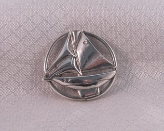 Vintage BEAU Sterling Sailboat Brooch
