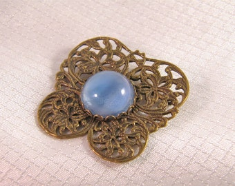 Victorian Brass Butterfly Brooch with Blue Cats Eye Cabochon Center