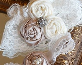 Champagne and Ivory Wedding Garter Set- Couture Lace Bridal Garter includes Toss Garter