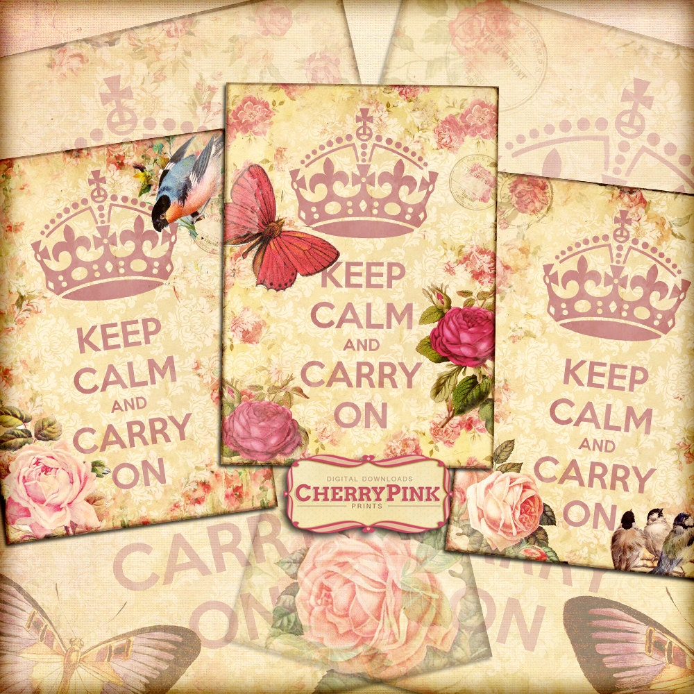 KEEP CALM digital collage sheet, vintage floral ephemera