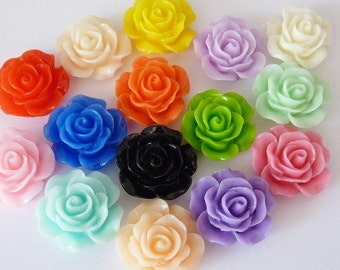 20 cabochons resin, Ø14mm, flower mix