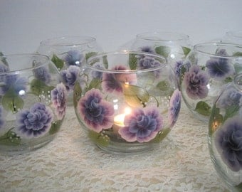 Purple Plum Cabbage Roses Votive or Tealight Candle Bowl