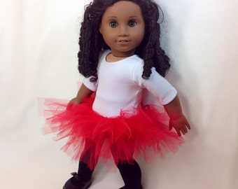 Doll Fashionable TuTu for American Girl, BFC ink, Springfield, Journey Girls & other 18 in. Dolls - TuTu - Red