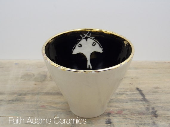 One Luna Moth White, Black & Gold Porcelain Tea Cup, Saki Cup, Tea Bowl-Candle Holder, Halloween Decor, Moth Art, Moon Moth