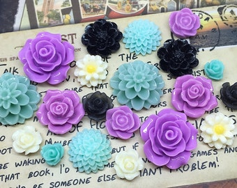 20x Resin Flower Cabochons - Purple/Teal/Black/Cream