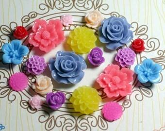 20pcs - Resin Flower Cabochons - Mix