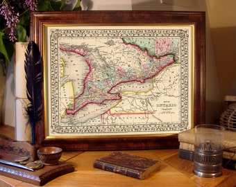 """Ontario map - Vintage map of  Ontario  fine reproduction - 1870 PRINT - 11 x 14"""""""