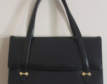 Black Leather Purse 1950's Baguette Bag