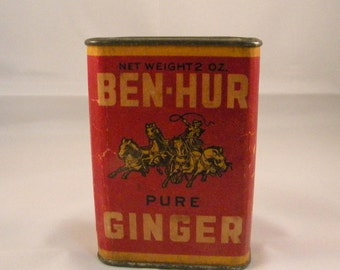 Ben Hur ginger tin with pry off lid 2 ounces vintage