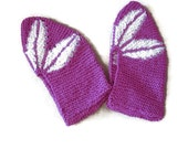 Hand knitted Pink White Flower Slippers Night Socks Big Size Wool Acryl