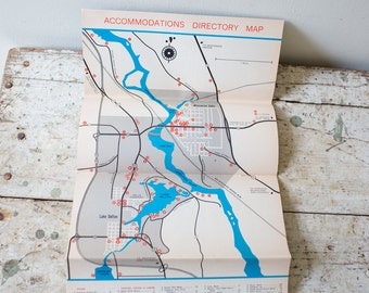 Vintage Wisconsin Dells Map - Wisconsin Map State Map Dells Tourist Directory 1960s USA Map