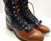 Vintage distressed Laredo Lace up Roper boots two tone women's size 9 M