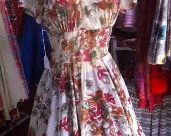 Stunning full circle 1950s , sheer, floral, dress.