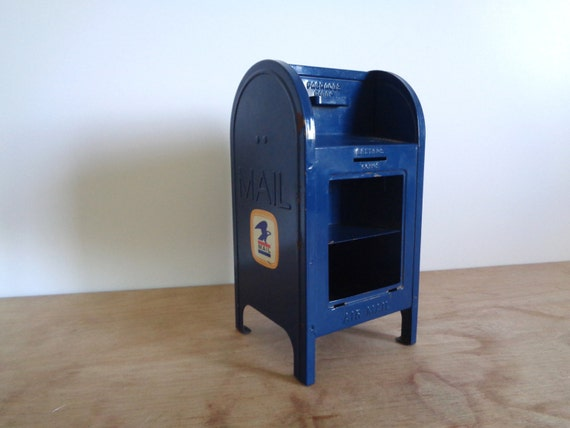 Vintage Blue U S Mail Box Piggy Bank Miniature Toy