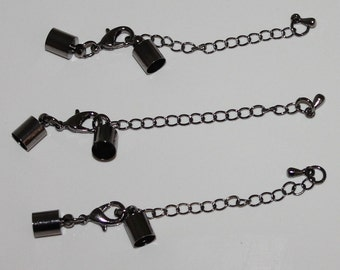 Gun metal Black Cord Ends with Lobster Clasps and Chain (3)