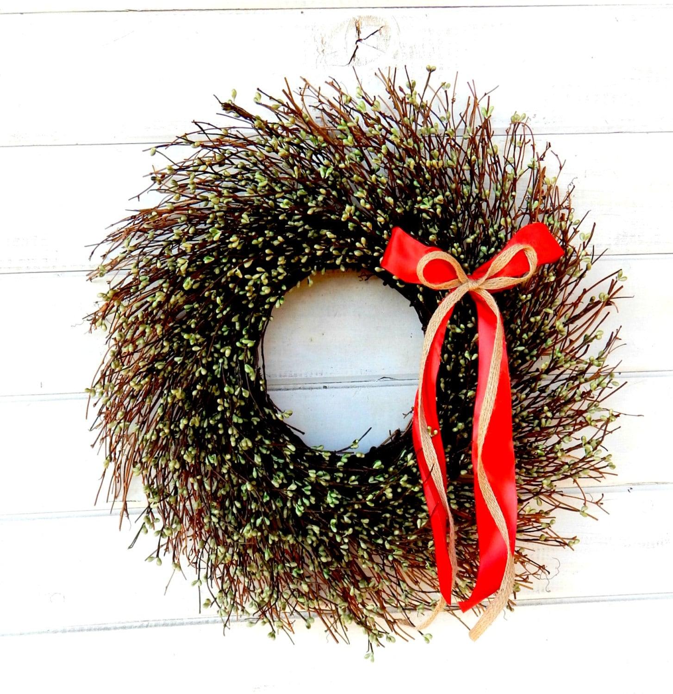 christmas wreath winter wreath green twig door wreath rustic. Black Bedroom Furniture Sets. Home Design Ideas
