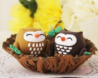 Custom Wedding Cake Topper - Owl couple in the nest