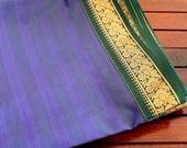 Half Yard-Blue Art Silk Sari Fabric-Gold Brocade Design Border-Recycle Silk Fabric-Silk Ribbon Border-Table Runner-Sari Quilt Fabric