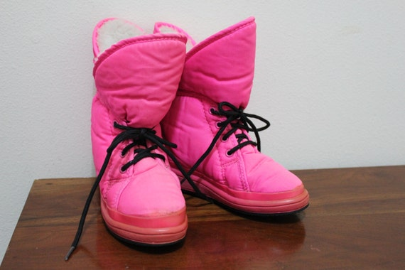items similar to throwback pink moon boots or snow shoes